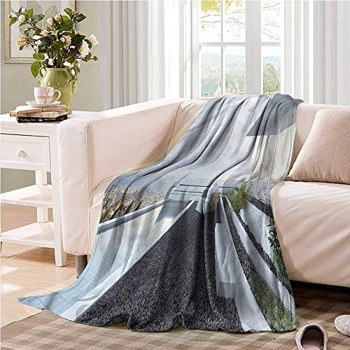 Oncegod Soft Warm Coral Fleece Blanket Modern Panoramic Pebbles and Pool Bedding Throw, or Blanket Sheet 93