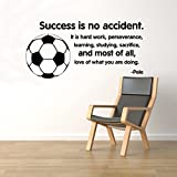 BestDecalsUSA Success Is No Accident Soccer Ball Wall Quotes Pele Vinyl Decal Sticker Motivational Home Art Decor Removable Interior (14qts)
