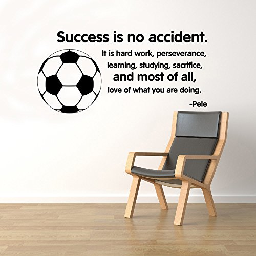 BestDecalsUSA Success Is No Accident Soccer Ball Wall Quotes Pele Vinyl Decal Sticker Motivational Home Art Decor Removable Interior (14qts) by BestDecalsUSA