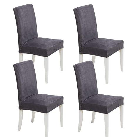 MIULEE Pack de 4 Fundas para Sillas Terciopelo Comedor Fundas Elásticas Modernas bielástico Extraíbles y Lavables Funda Cubiertas para sillas Gris