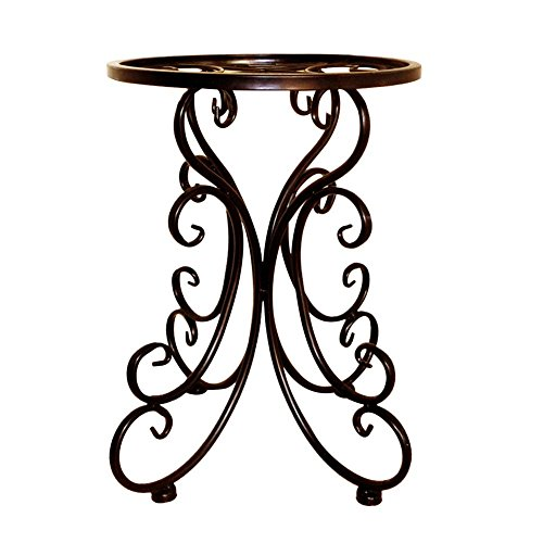 (Labyrinen Indoor Balcony Single Wrought Iron Flower Stand, Outdoor Courtyard Ideas Round Stool Flower Rack Holder, Horticultural Plant Stand, Flower Stand Decoration, Black, Copper 25x34cm)