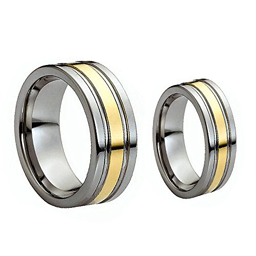 His & Her's 8MM/6MM Flat Shiny Two Tone Gold Grooved Cut Tungsten Carbide Wedding Band Ring Set