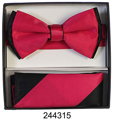 Men's Premium Metallic and Rhinestone Bow Ties for Suits and Tuxedos - Many Colors (Two Tone Fuchsia with Black) (Rhinestone Color Fuchsia)