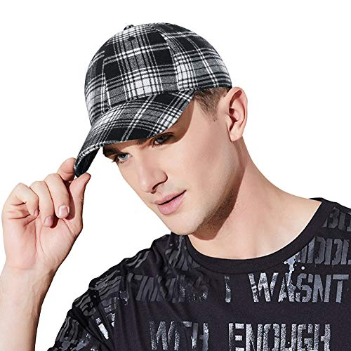 DOCILA Adult Flexfit Tartan Plaid Baseball Caps Designer Black White Dad/Mom Hats Father's Day Gfit