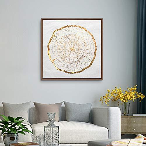 Framed Golden Abstract Annual Rings Home Artwork for Living Room Bedroom