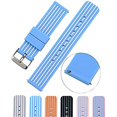 MLQSS Soft Silicone Watch Band with Quick Release Pins - Choice Color & Width (18mm, 20mm or 22mm) Watch Straps w/Adjustable Metal Clasp by MLQSS