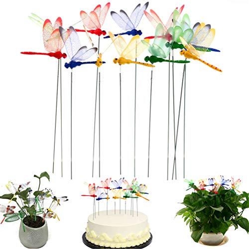 SUSHAFEN 12Pcs 3D Dragonfly Stakes on Sticks Garden Ornaments Dragonfly Cake Toppers for Birthday Wedding Party Cake Decoration Flower Plant Pot Planter Patio Decoration,Large