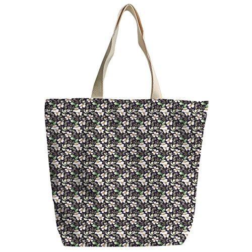 Violetpos Benutzerdefiniert Canvas Handtasche Einkaufstaschen Umhängetasche Schultasche Weiße Gardenie Blume Oi8IzyECo5