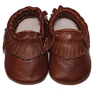 Baby Conda Handmade Baby Moccasins * 100% Genuine Leather * Soft Sole Slip on Baby Shoes for Boys and Girls * 100% Money Back Guarantee