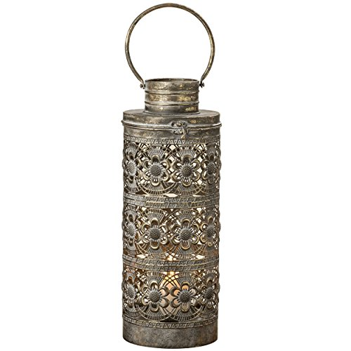 - Marrakesh Temple Lantern, Hurricane, Golden Aged Finish, Over 1 1/2 Feet Tall (8 3/4 Diameter x 19 1/4 inches Tall) Iron, Intricate Rosette Pattern, Top Opening, From the Global Chic Collection