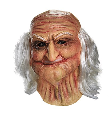 Disguise Men's Male Oldie Costume Mask, Beige/White, (Old Man Halloween Costume)