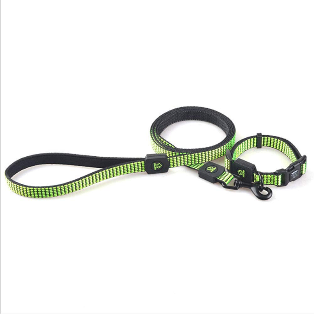 Green Small Green Small Nylon Pet Supplier Pet Collar and Leash Lead Set for Suitable for Large, Medium and Small dogsTraining, Walking, Running,Green,S