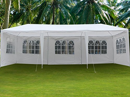 go2buy 30'X10' White Heavy Duty PE Water Resistant Party Wedding Tent Carport Canopy Tents (Party Carport)