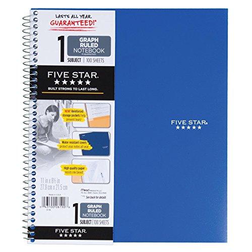 five star spiral notebook  1 subject  graph ruled paper  100 sheets  11 u0026quot  u0026quot  x 8 2 u0026quot  u0026quot   color will