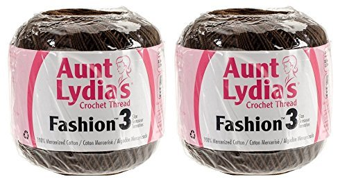 Aunt Lydia's Crochet Thread - Size 3 - (2-Pack) Coffee