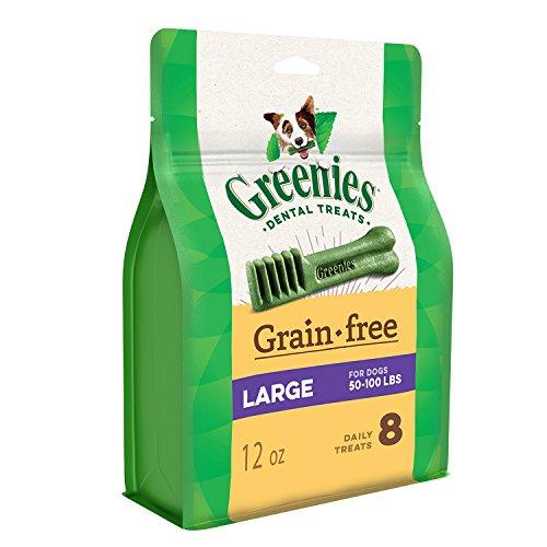 GREENIES Grain Free Large Natural Dog Dental Care Chews Oral Health Dog Treats, 12 oz. Pack (8 Treats)