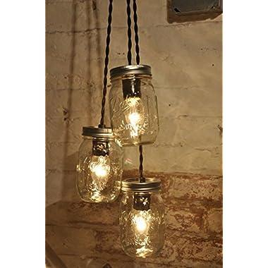 Mason Jar Chandelier 3 Clear Jars Pendant Light