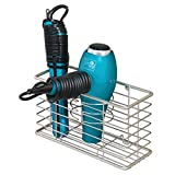 mDesign Bathroom Wall Mount Hair Care & Styling Tool Organizer Storage Basket for Hair Dryer, Flat Iron, Curling Wand, Hair Straighteners, Brushes – Durable Steel Wire in Satin Finish