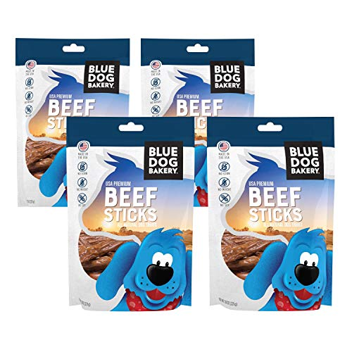 Blue Dog Bakery Natural Dog Treats, 7.8oz 4 Pack, Grain Free, USA Premium Beef Sticks