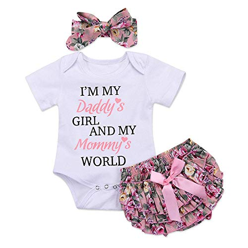 3PCS Newborn Toddler Baby Girl Outfit Summer Clothes Set Floral Romper Bodysuit Tops+Tutu Shorts Pants Dress +Headband