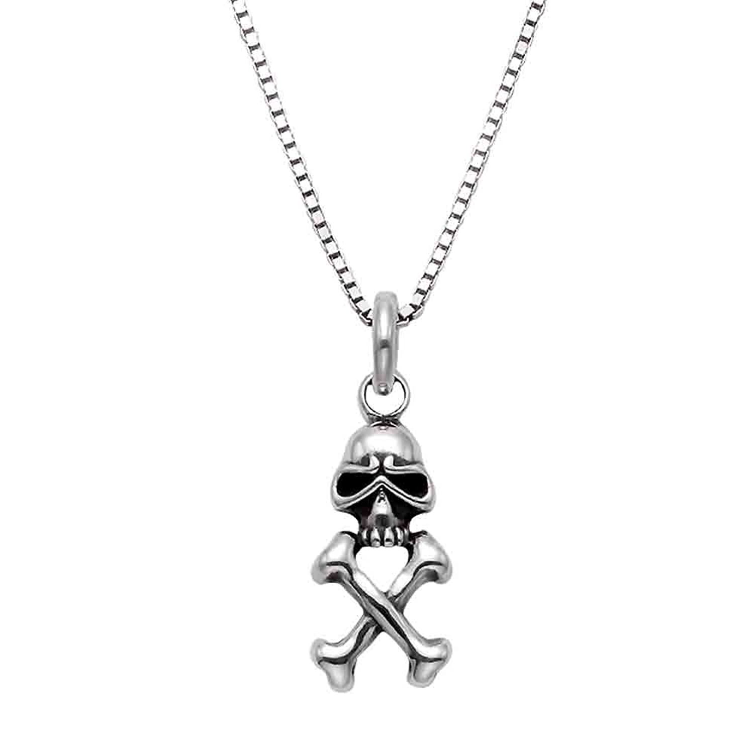 Small Sterling Silver Skull & Crossbones Pirate Pendant Chain