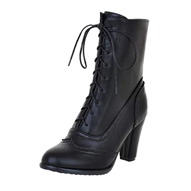 c2f8fc75ac14 BaZhaHei Women Classic Pointed Toe Leather Boots Lace-Up High-Heeled Boots  Middle Tube