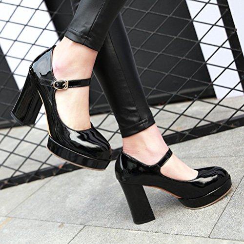 Block High Closed Ankle Pumps Strap Classic Toe Janes Mary Agodor Platform Womens Black Shoes Heel tqzcvnEnRx