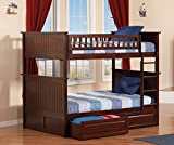 Nantucket Full over Full Bunk Bed   Raised Panel Drawers   Antique Walnut