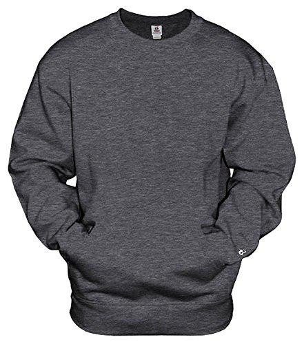 Embroidered Two Pocket Sweatshirt - Badger Mens Athletic Fleece Pocket Crew (1252) -CHARCOAL -L