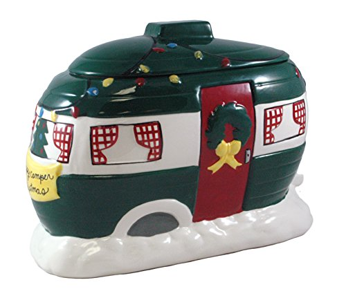 Happy Camper Christmas Hand Painted Cookie Jar - 11