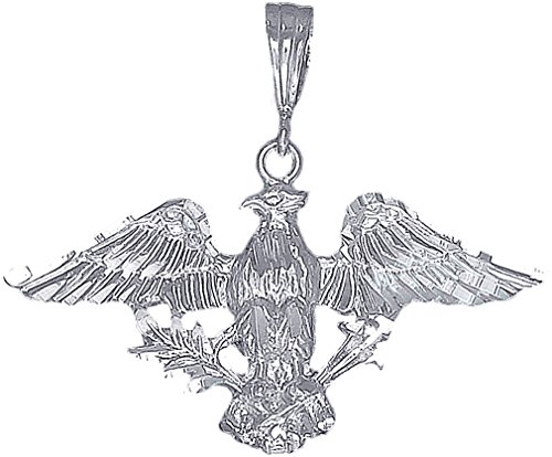 eJewelryPlus Sterling Silver Eagle Charm Pendant Necklace Diamond Cut Finish with Chain (Without Chain) Diamond Cut Eagle Charm