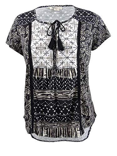 (Style & Co. Womens Plus Printed Short Sleeves Peasant Top B/W 0X)