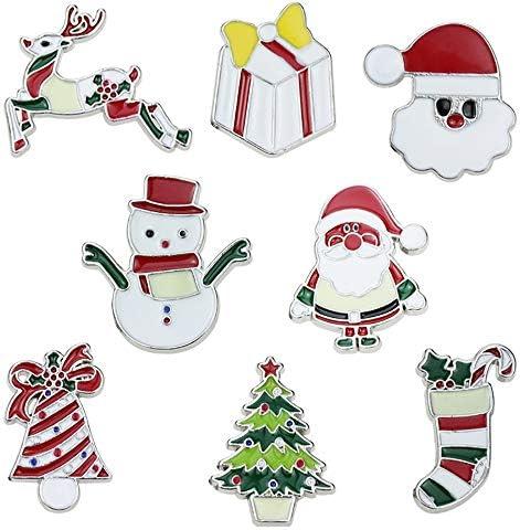 AXROAD MALL 8つのPCS漫画のクリスマスバッジかわいいサンタのクリスマスツリー雪だるまバッジファッションアクセサリークリスマスブローチ