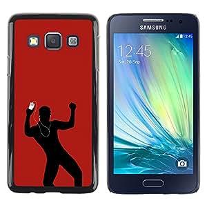 KOKO CASE / Samsung Galaxy A3 SM-A300 / música de baile amor hombre auriculares rojos / Delgado Negro Plástico caso cubierta Shell Armor Funda Case Cover