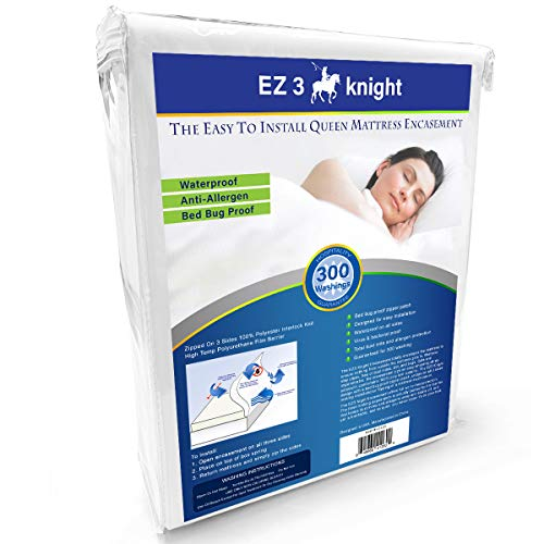 EZ3 Knight Mattress Encasement – Quality Mattress Protector Designed with 100% Waterproof, Virus & Bacteria Proof, Hypoallergenic Poly-Knit Material (Queen Bed)