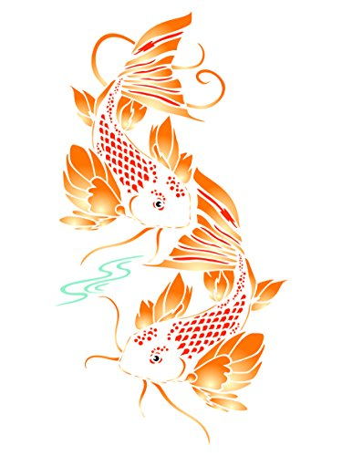 Koi Fish Stencil - 10 x 18.5 inch (XL) - Reusable Asian Oriental Carp Fish Animal Pond Wall Stencil Template - Use on Paper Projects Scrapbook Journal Walls Floors Fabric Furniture Glass Wood etc. (Koi Stencil)