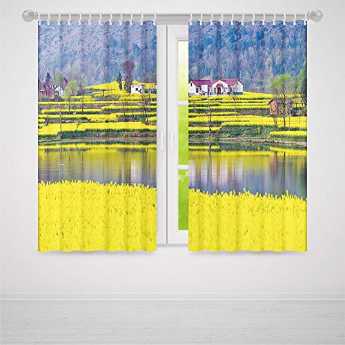 C COABALLA Bedroom Curtains,Yellow Flower,for Living Room,Rural Spring Scenery in Northern Shaanxi China Blossoming Farmland Decorative2 Panel Set,103W X 96L ()