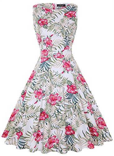 IHOT Vintage Tea Dress 1950's Floral Spring Garden Retro Swing Prom Party Cocktail Dress for -