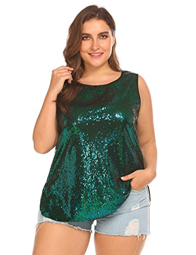 IN'VOLAND Women's Plus Size Glitter Sequin Tank Top Sleeveless Sparkle Shimmer Shirt Tops Camisole