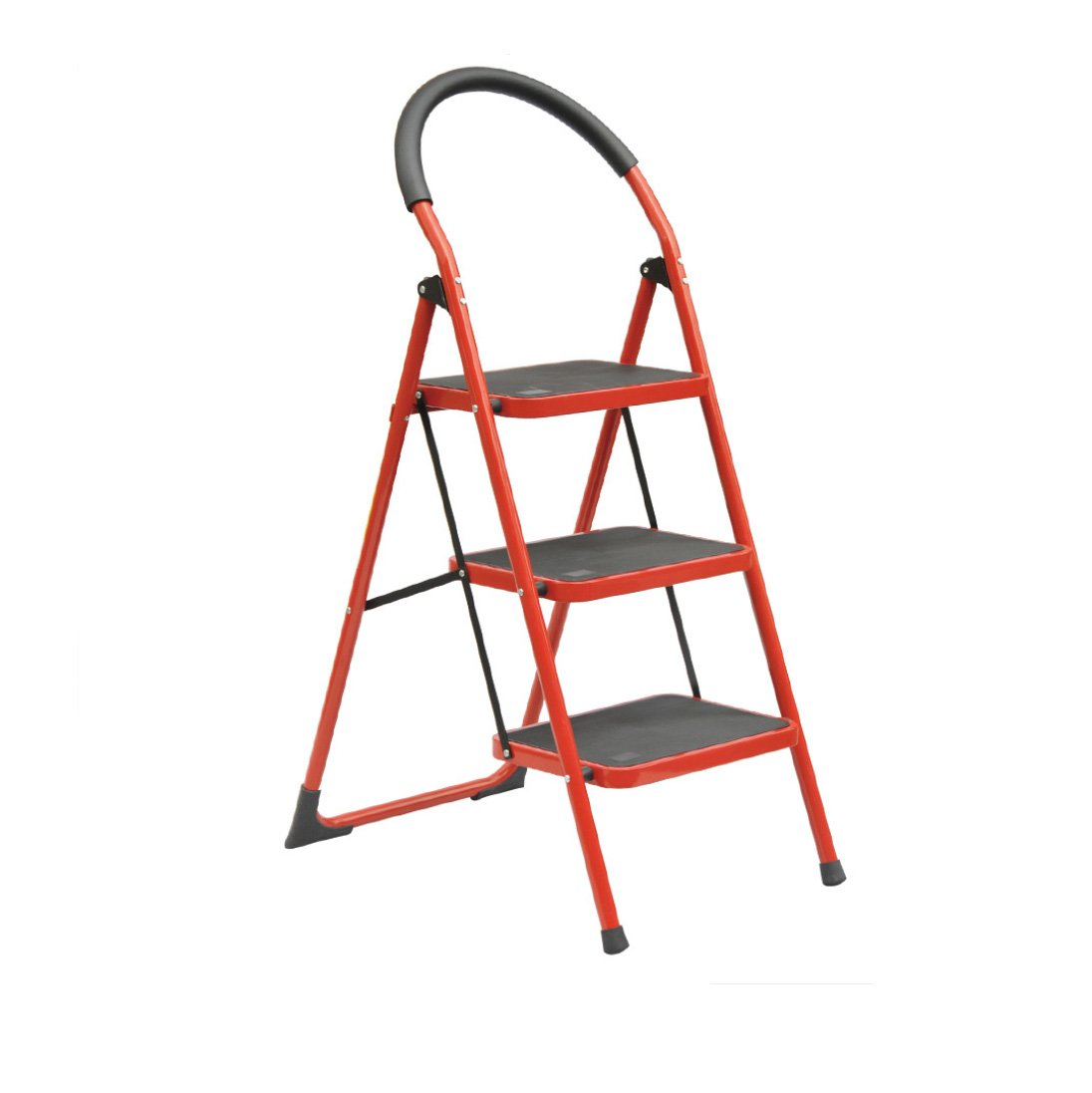 Centurich 3-Step Folding Stool Steel Step Stool Foldable Step Ladder with Rubber Handgrip and Non-slip Treads (Red) by Centurich