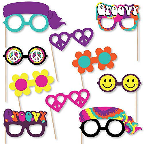 Big Dot of Happiness 60's Hippie Glasses - Paper Card Stock 1960s Groovy Party Photo Booth Props Kit - 10 Count]()