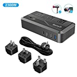 Rainyb Power Converters 2300-Watt Step Down 220V to 110V Voltage Converter & International Travel Adapter 220V to 110V Voltage Converter with 8A 3 USB Ports,Type-C and UK/AU/US/EU Plug Adapter
