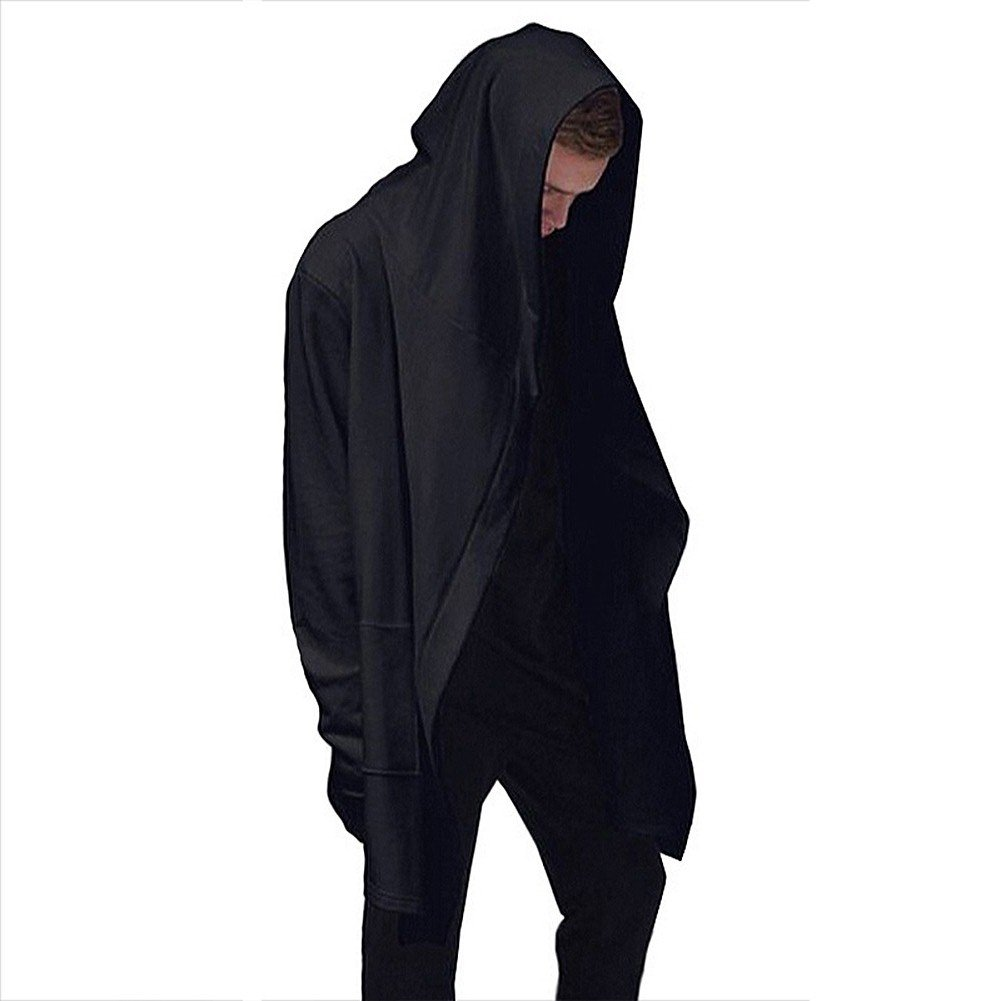 Mens Hooded Outwear Plus Long Black Hoodies Overcoat Hooded Cape Comeon