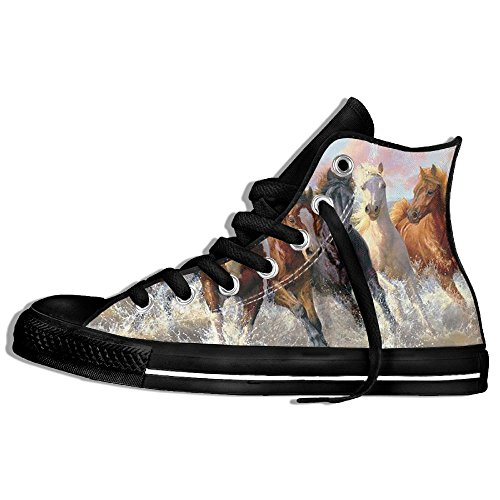 Classic High Top Sneakers Canvas Shoes Anti-Skid Oil Painting Horse Casual Walking For Men Women Black S3b0HPVMu