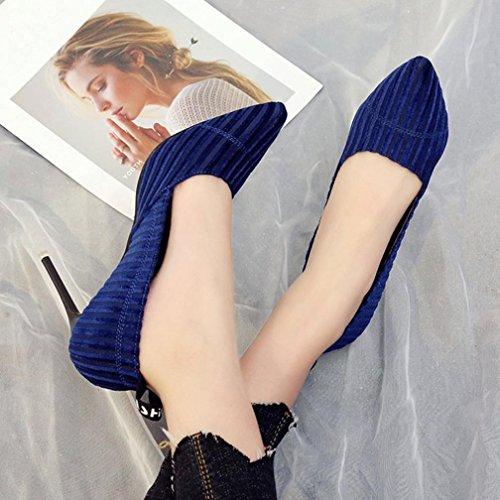 Inkach Mode Féminine Casual Bout Pointu Talons Hauts Chaussures Peu Profondes Bleu
