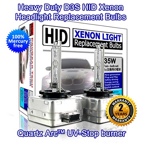 Heavy Duty D3S HID Xenon Headlight Replacement Bulbs OEM Standard 35W Non-Mercury (Pack of 2) (6000K Daylight White)