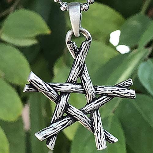 Star Charm The Elements Earth Air Fire Water Witchy AF Silver Pentagram Necklace Wicca Necklace Witchy Woman Pagan Witch Wiccan Necklace