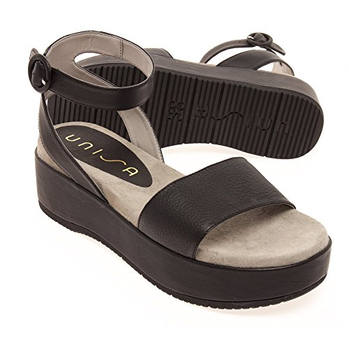 Form Unisa 174 Bueno in Black Flat Women's Sandal Black Leather tpUwpfq