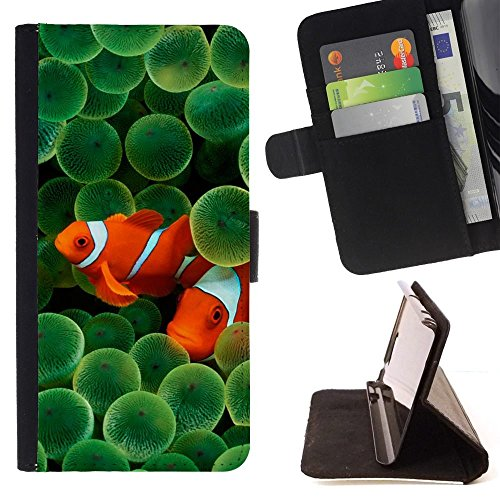 Clownfish Orange Ocean Bright - Colorful Pattern Flip Wallet Leather Holster Holster Protective Skin Case Cover For Sony Xperia Z1 Compact / Z1 Mini (Not Z1) (Fancy Clownfish)