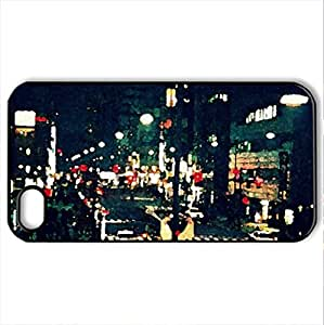 8__BLACK_CITY_NIGHT - Case Cover for iPhone 4 and 4s (Amusement Parks Series, Watercolor style, Black)